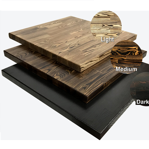 Smoked Carbon Ash Wood Restaurant Table Tops