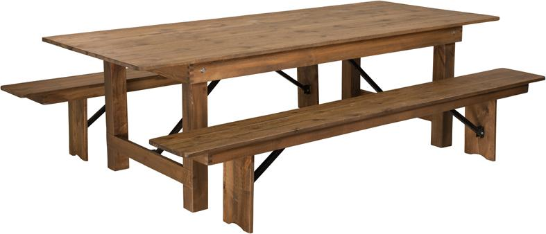 Barn Wood Brewery Tasting Table With Bench Seats Commercial Grade 40x96
