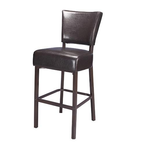 Baron Upholstered Brown Metal Bar Stool Wood Grain Finish