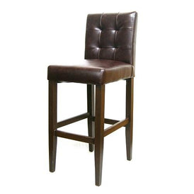 Beaulon Button Back Upholstered Brown Metal Bar Stool Wood Grain Finish