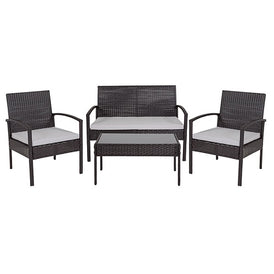 Belleair 4 Piece Black Patio Set with Steel Frame and Gray Cushions