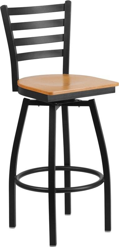 Bettina Dark Iron Metal Swivel Bar Stool Light Wood Seat