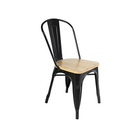 Black Tolix Chair With Beech Wood Seat