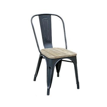 Black Weathered Finish Tolix Chair Natural Wood Seat