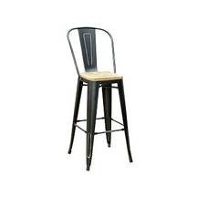 Black Weathered High Back Wood Seat Tolix Bar Stool