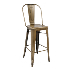 British Brass Finish High Back Tolix Bar Stool
