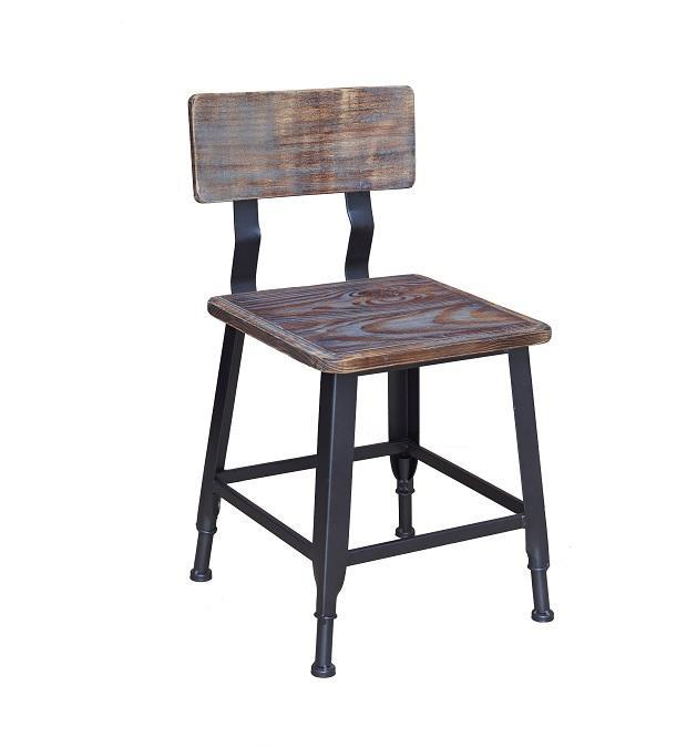 Bulldozer Industrial Steel Chair Antique Finish Wood Seat Back