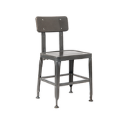 Bulldozer Industrial Steel Gun Metal Restaurant Chair