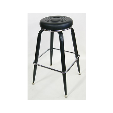 Bulls-eye Black Metal Bar Stool Upholstered Seat