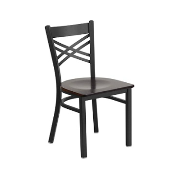 Carlita Dark Iron Strap Back Metal Side Chair Wood Seat