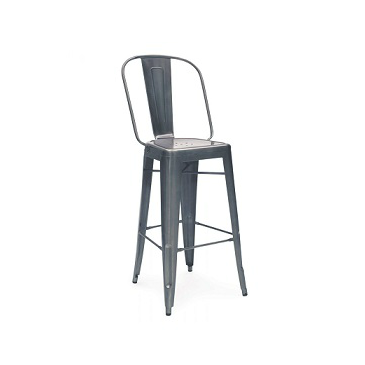 Charcoal Dark Gun Metal High Back Tolix Bar Stool