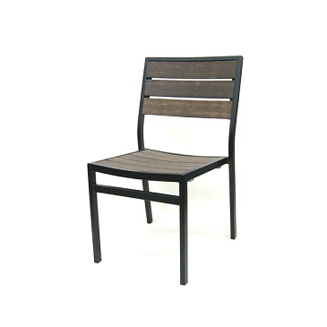Chocolate Mocha Outdoor Side Chair Aluminum Black Frame