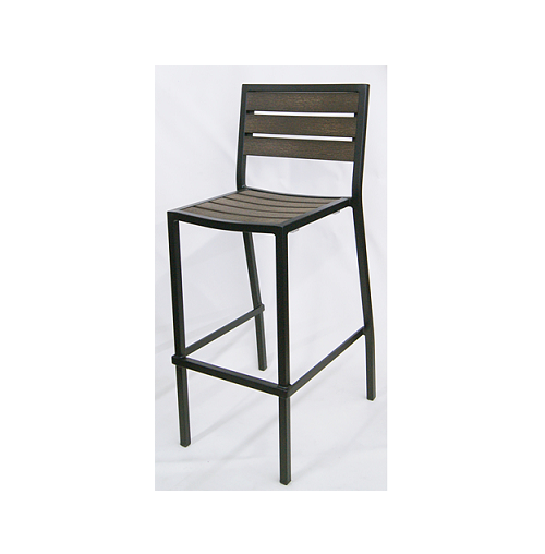 Chocolate Mocha Outdoor Bar Stool Aluminum Black Frame