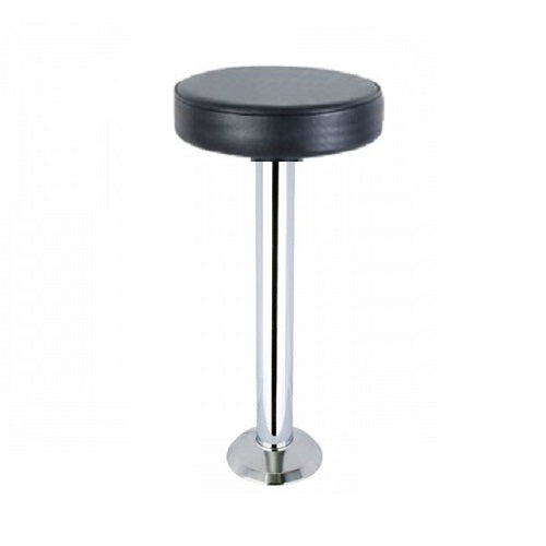 Chrome Bolt Down Bar Stool With Black Vinyl Seat