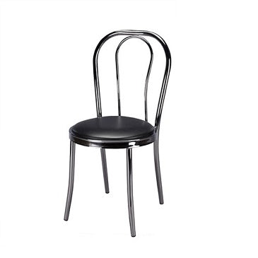 Chrome Italia Hoop Back Side Chair Black Vinyl Seat