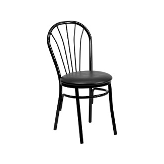Classic Italia Hoop Back Black Side Chair Black Vinyl Seat