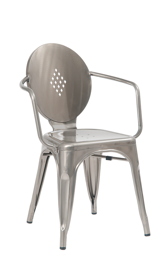 Royce Stackable Oval Back Clear Steel Finish Side Chair