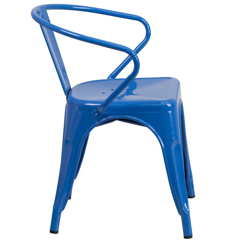 Cobalt Blue Galvanized Tolix Arm Chair In-Outdoor
