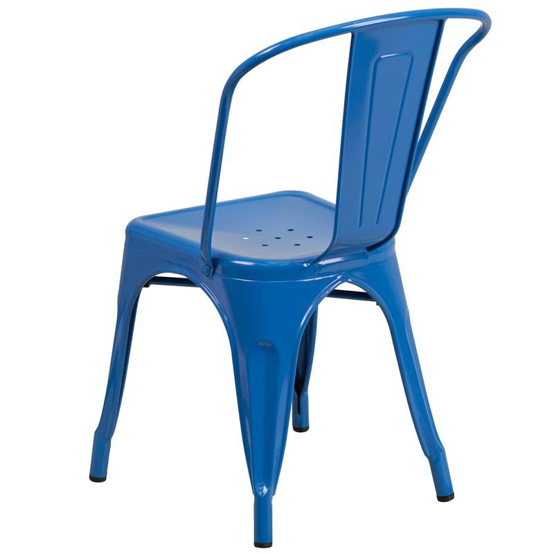 Cobalt Blue Galvanized Tolix Chair In-Outdoor