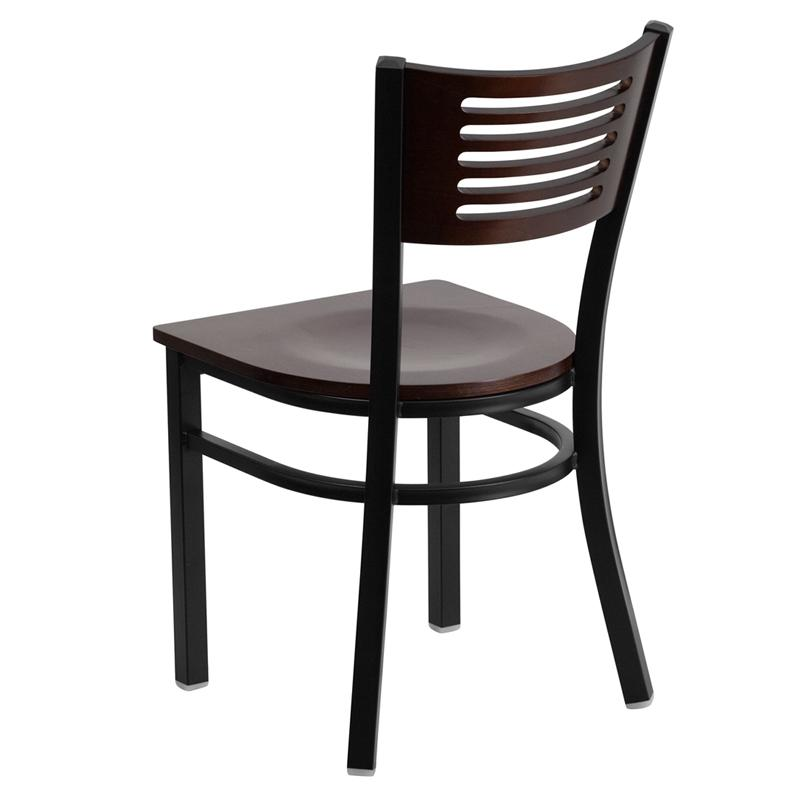 Concetta Crescent Back Walnut Wood Seat Dark Iron Metal Side Chair
