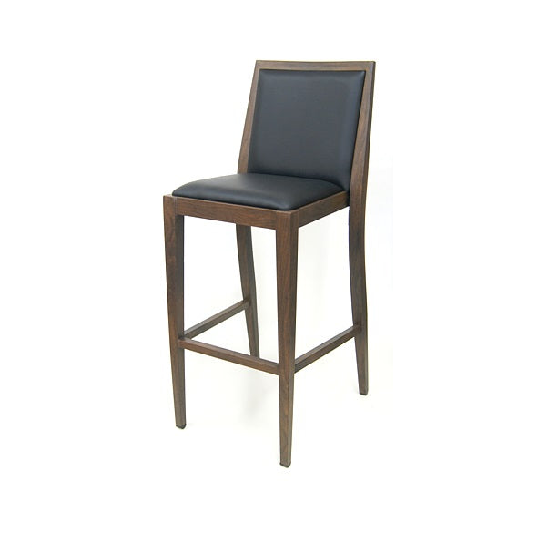 Costata Upholstered Bar Stool Metal Wood Grain Finish Black Vinyl