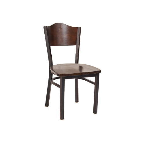 Crest Back Chair Walnut Finish Wood Seat Back Black Chair