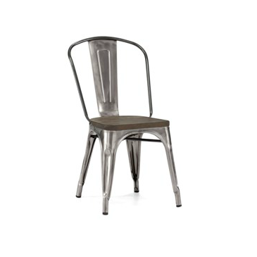 Gun Metal Wood Seat Tolix Chair