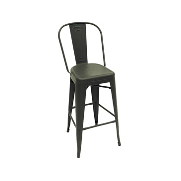 Dark Iron Matte Finish High Back Tolix Bar Stool
