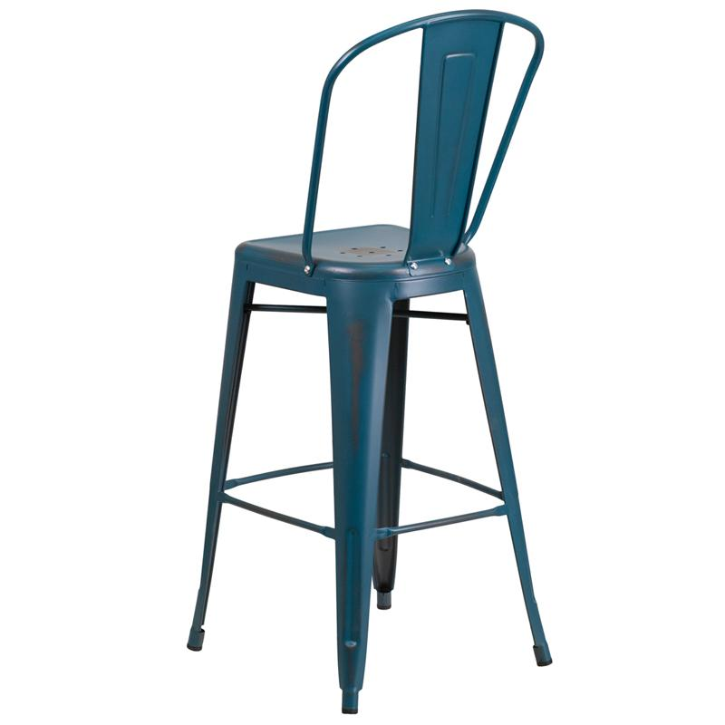 Dark Marlin Blue Weathered High Back Tolix Bar Stool Large Seat