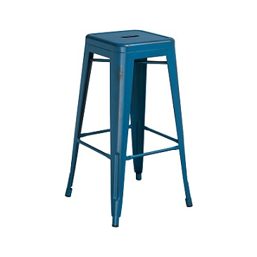 Dark Marlin Blue Weathered Tolix Bar Stool