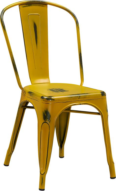 Butter Yellow Weathered Tolix Chair