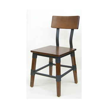 Delmont Industrial Walnut Finish Restaurant Chair Metal Bracing