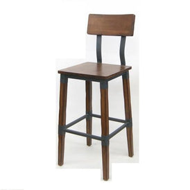 Delmont Industrial Walnut Finish Bar Stool Metal Bracing