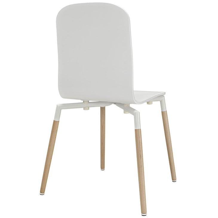 TBD Chic Series Tustin White Wood Seat Stacking Dining Chair