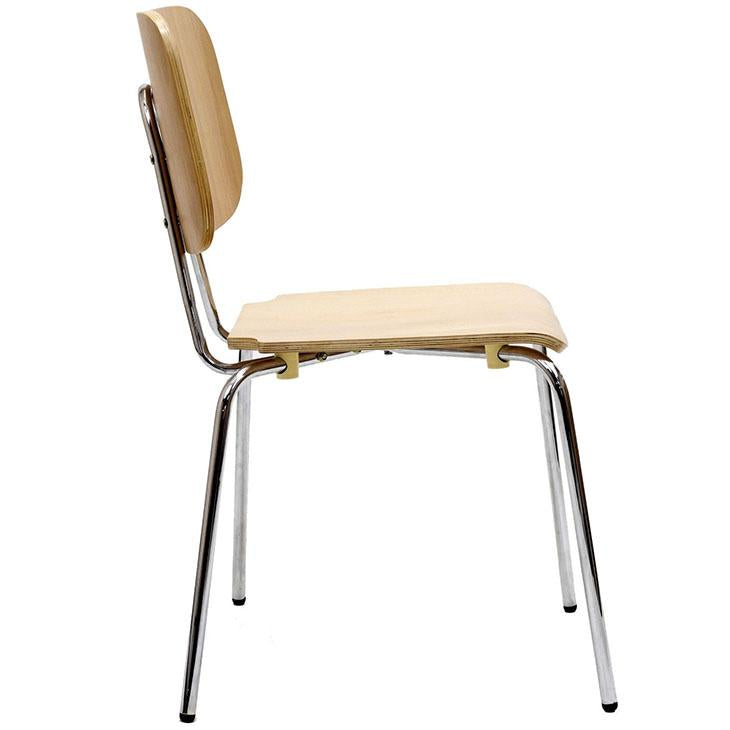 TBD Chic Series Huntington Chrome Frame Natural Wood Seat Back Side Chair