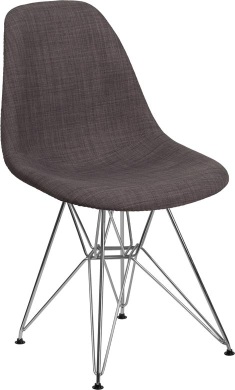 Ellen Gray Fabric Chair with Chrome Base