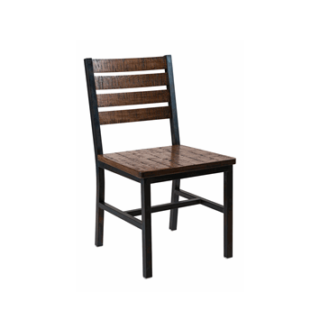 Ohio Barn Wood Seat Back Walnut Finish Steel Chair