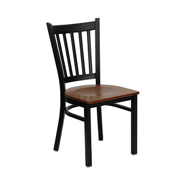 Ernesta Dark Iron Metal Side Chair Cherry Wood Seat