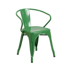 Fern Green Galvanized Tolix Arm Chair In-Outdoor