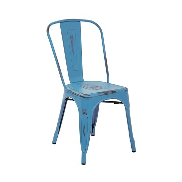 French Blue Antique Weathered Finish Tolix Chair