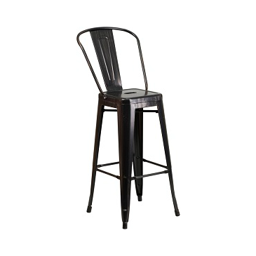 Galvanized Antique Black Copper High Back Tolix Bar Stool
