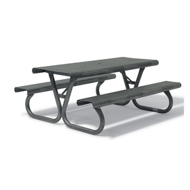 Urban Galvanized Gray Outdoor Square Perforation Picnic Table with Attached Seats Smith Portable Collection