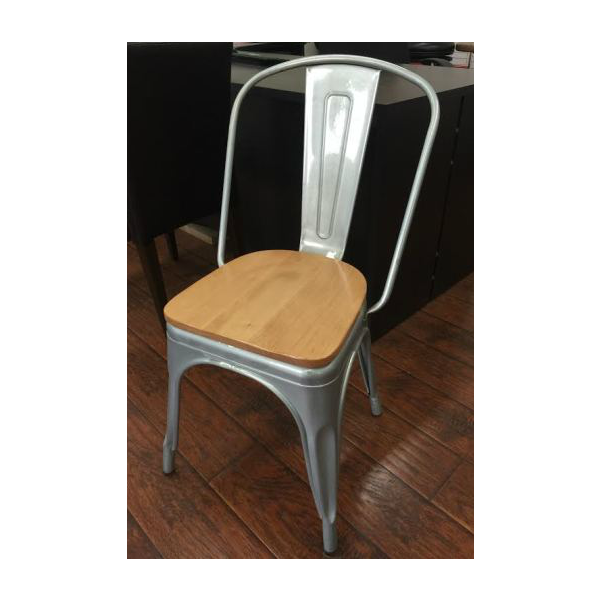 Galvanized Silver Tolix Chair With Natural Wood Seat ...