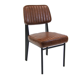 Garfield Upholstered Vintage Brown Restaurant Dining Chair
