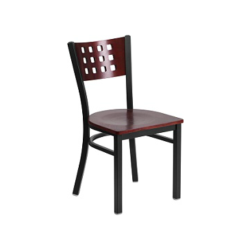Gianna Black Decorative Mahogany Wood Seat Side Chair
