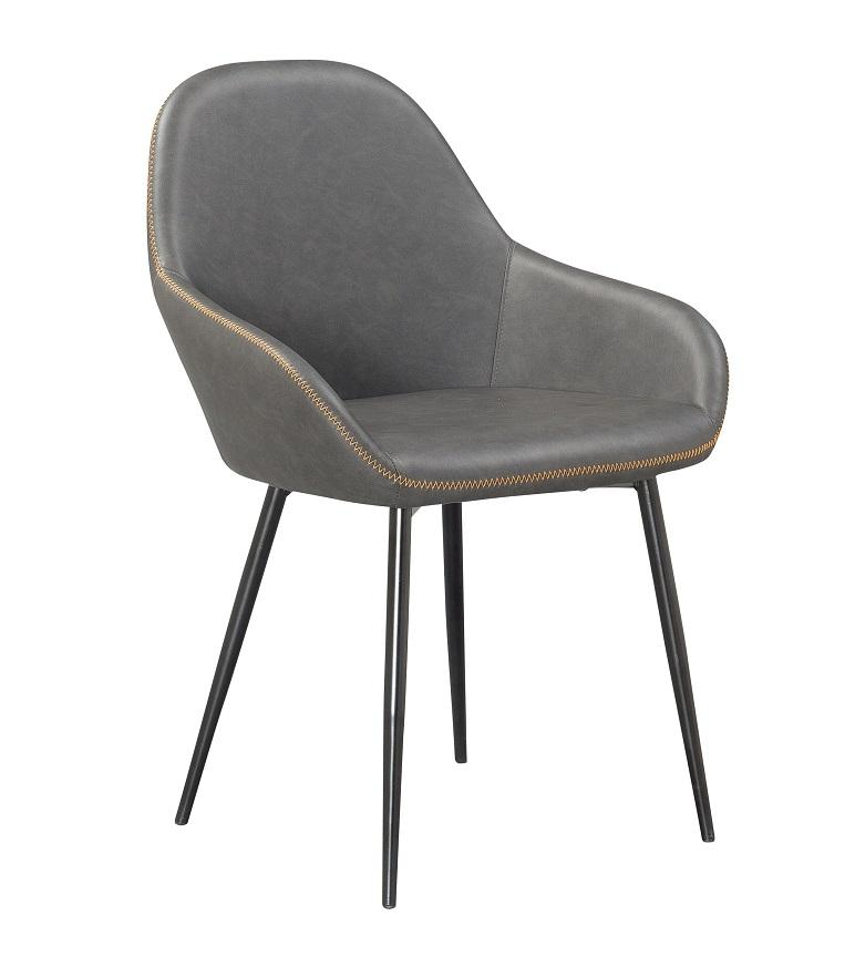 Grayson Upholstered Gray Dining Chair Black Metal Frame