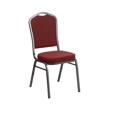 TBD 1012 Club Series Crown Back Stacking Banquet Chair with Burgundy Patterned Fabric and 2.5'' Thick Seat - Silver Vein Frame