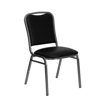 TBD 1006 Club Series Stacking Banquet Chair with Black Vinyl and 1.5'' Thick Seat - Silver Vein Frame