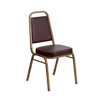 TBD 1009 Club Series Trapezoidal Back Stacking Banquet Chair with Brown Vinyl and 2.5'' Thick Seat - Gold Frame