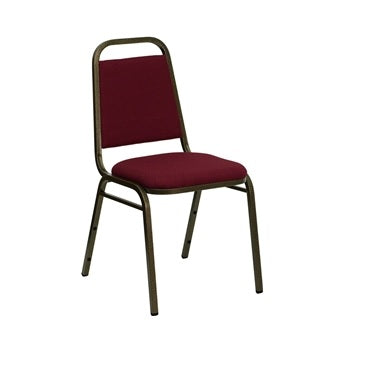 TBD 1003 Club Series Trapezoidal Back Stacking Banquet Chair with Burgundy Fabric and 1.5'' Thick Seat - Gold Vein Frame